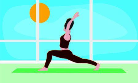 woman stretches the entire body in yoga warrior pose Virabhadrasana Asana. Trendy top relaxation, meditation, exercises illustration Illusztráció
