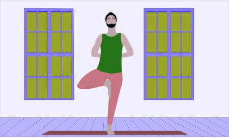 young man stretches his shoulders and back standing on one leg in Asana Tree Pose Vrksasana. Relaxation meditation illustration