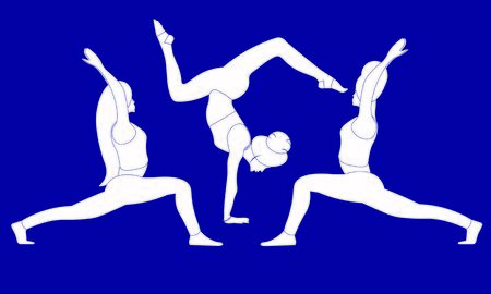 Three females are stretching the entire body standing in yoga warrior pose Virabhadrasana Asana, one girl hand standing in scorpion Asana Bhuja Vrischikasana, concentrating on breath, relaxation