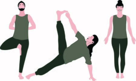 One is stretching body standing in yoga Tree Pose Vrksasana, next doing Vasisthasana, Side Plank Pose and Tadasana Asana, concentrating on breath, relaxation, meditation exercises isolated men