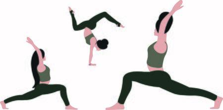 Three females are stretching the entire body standing in yoga warrior pose Virabhadrasana Asana, one girl hand standing in scorpion Asana Bhuja Vrischikasana, concentrating on breath, relaxation