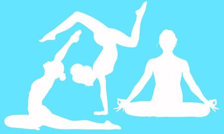 Lotus pose Mrigi Mudra Asana, Pigeon pose Pada Radha Kapotasana Asana, Bhuja Vrischikasana Asana Arm Balance Scorpion Pose Illusztráció