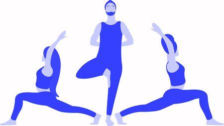 One European standing on one leg in Tree Pose Vrksasana Asana, two girls stretches in yoga warrior pose Virabhadrasana Asana