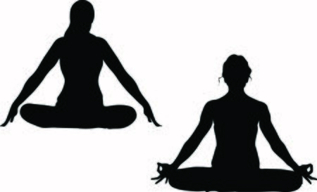 One lady is sitting in a comfortable Asana with raised arms, crossed legs lotus pose and makes Mrigi Mudra, another woman is doing Jalandhara Bandha Çizim