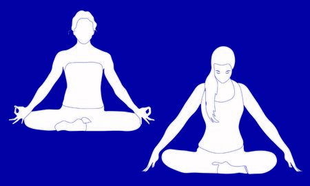 One lady is sitting in a comfortable Asana with raised arms, crossed legs lotus pose and makes Mrigi Mudra, another woman is doing Jalandhara Bandha Illusztráció