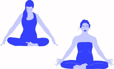 One lady is sitting in a comfortable Asana with raised arms, crossed legs lotus pose and makes Mrigi Mudra. Pranayama exercises another woman is doing Jalandhara Bandha