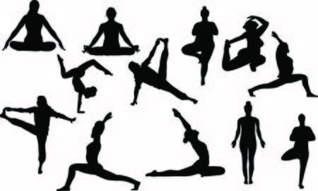 black collection of twelve people who standing, stretching doing body care trainings and relax, meditation breath concentration