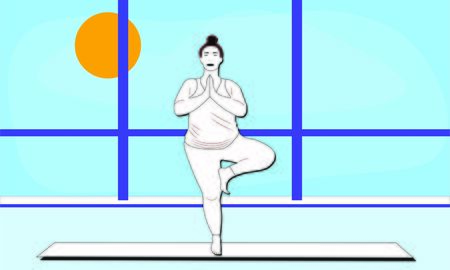 woman stretches her shoulders and back standing on one leg in Asana Tree Pose Vrksasana in the gym. Outside the window blue sky bright sunny day. Relaxation, isolated woman, color illustration Illusztráció