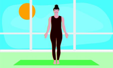 Isolated yogi stretches shoulders and back standing in Tadasana Asana on a yoga mate in the gym or apartment. Health care illustration 스톡 콘텐츠 - 133505696
