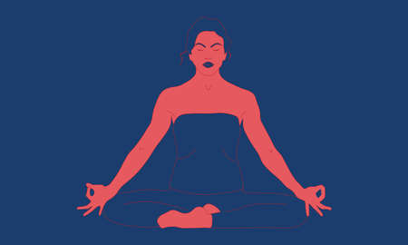 Contour of a woman, who is sitting with raised arms, crossed legs and make Mrigi Mudra Asana, pranayama exercise. Relaxation, isolated high weight woman color illustration