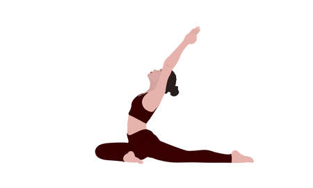 A young woman standing in yoga pigeon asana Pada Radzhakapotasana. Relaxation, isolated woman color illustration