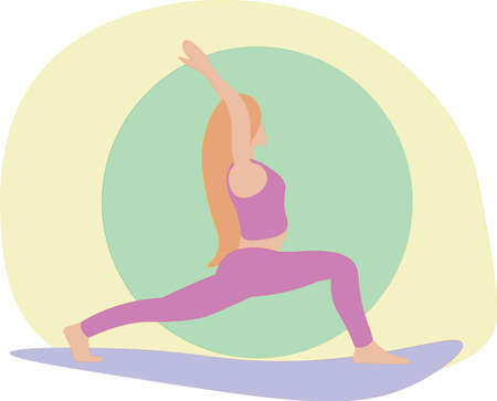 A young woman standing in yoga warrior pose. Relaxation, isolated woman color illustration