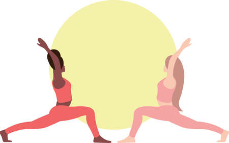 Two young women standing in front of each other in yoga warrior pose. Relaxation, isolated women color illustration
