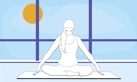 woman is sitting in a comfortable asana with raised arms, crossed legs and doing Jalandhara Bandha in the studio room with window. Outside the window blue sky bright sunny day