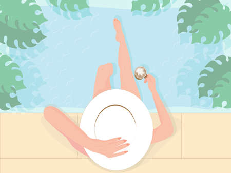 Summer vibes illustration of a girl in the hat holding a cup of coffee and sitting by the pool with legs dangling in the water