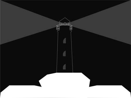 Black lighthouse with gray lights standing on white rocks on black background negative effect