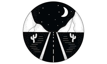 Line hand drawn black and white logo illustration circle of road, landscape mountains, and desert with cactuses, night sky with moon and stars Ilustrace