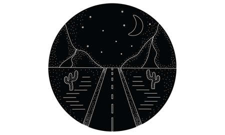 Line hand drawn logo illustration circle of road, landscape mountains, and desert with cactuses, night sky with moon and stars