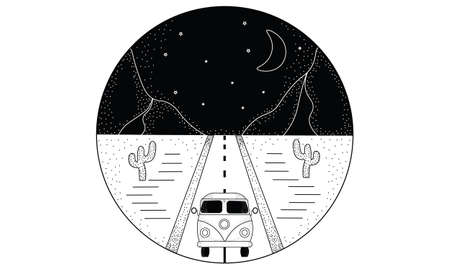 Line hand drawn logo illustration circle of road, landscape mountains, van bus and desert with cactuses, night sky with moon and stars Ilustrace