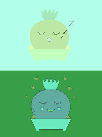 This is two hand-drawn, satisfied, sleepy cacti, in pots on a green background Ilustração Vetorial