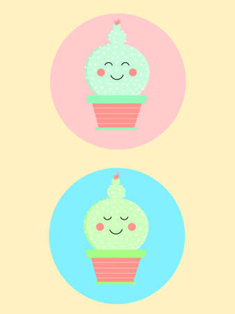 This is two smiling, relax babies cacti, in pots on a pink and blue round background Ilustração Vetorial