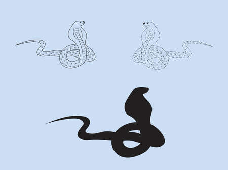 The black outline, dashed and silhouette of a snake on a light blue background