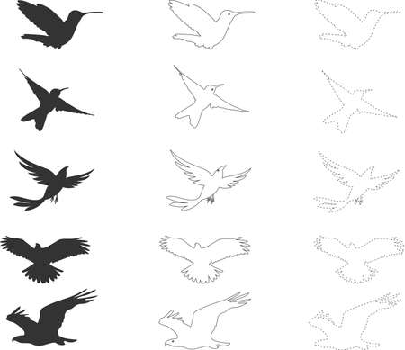 Cartoon collection of birds. Black silhouettes dashed line and outline seagulls. Isolated birds for coloring, elements for decorations, mobile games, applications