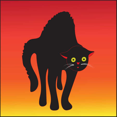 Vector illustration of a frightened black red outline cat with yellow eyes on a dusk gradient background
