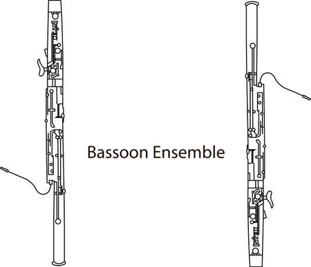 Black line drawing of outline Bassoon ensemble musical instrument contour on a white background