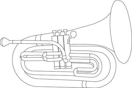Simple black and white line drawing of outline Baritone musical instrument contour Vektoros illusztráció