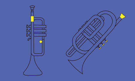Line hand-drawn musical instruments, the contour of cornet and trumpet for a template, or art school dictionary illustration