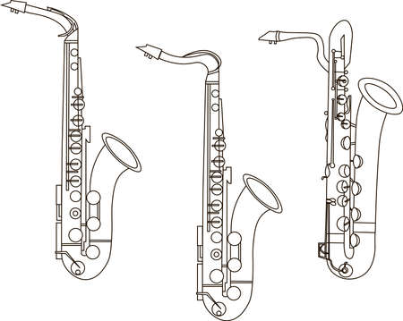 Outline Saxophone ensembles, contours of musical instruments on a white background