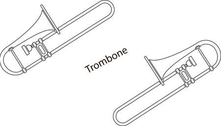 Line hand-drawn musical instruments, the contour of trombone ensemble for a template, or art school dictionary illustration Vektorové ilustrace