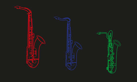 Colored line drawings of outline Alto Saxophone, Tenor Saxophone and Baritone Saxophone musical instrument contour on a black background, three color shapes or forms, icons for education