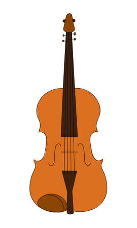 Classic string wind musical instrument isolated on a white background. For student education, illustration for dictionary musical schools 向量圖像