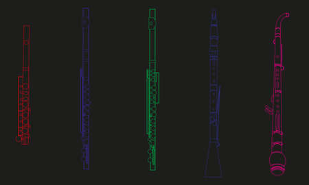 Colored line drawings of outline piccolo, flute, alto flute, oboe and english horn musical instrument contour on a black background