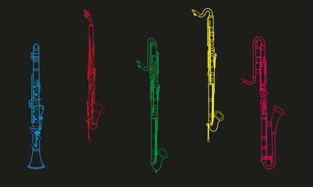 Colored line drawings of outline Soprano Clarinet, Alto and Contra Alto, Bass and Contrabass Clarinet musical instrument contour on a black background