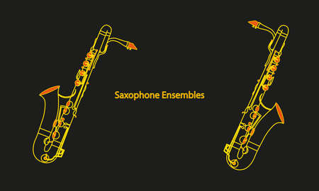 Colored line drawing shapes or outline Saxophone ensembles musical instrument contour on a black background