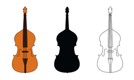 Line drawing, black silhouette, and color illustration of double bass outline classical contour wind musical instrument isolated on a white background. For student education, dictionary