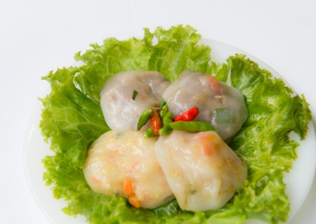 vietnamse: Two color Steamed Garlic chives on white dish