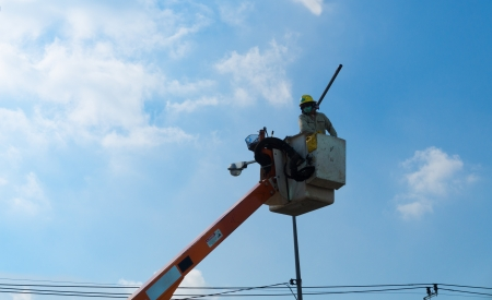 lineman: Electrician lineman on sky