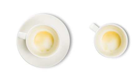 coffee hour: Empty white coffee cup