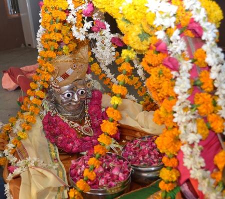 Raipur, Ahmedabad, India on 5th April, 2012 - Decorated statue of  Lord Shiva Hatkeshwar on the day of incarnation Stock Photo - 13096307