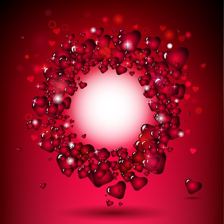 red hearts in circle frame  Vector