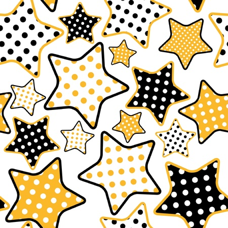 seamless pattern with yellow and black stars