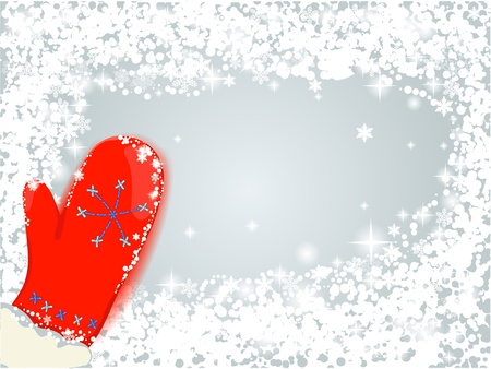 red mitten with snow Stock Vector - 11479500