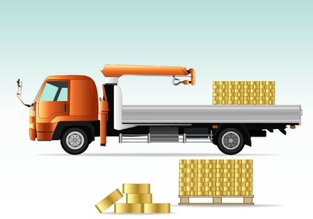 camion grua: camión grúa con ladrillos de oro