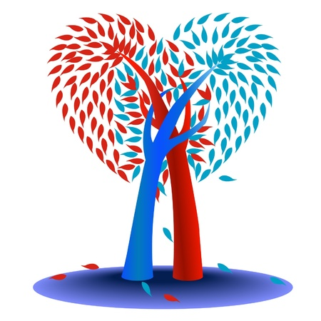 frendship: two trees and heart