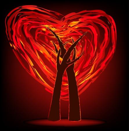 embrace: two trees in fire heart