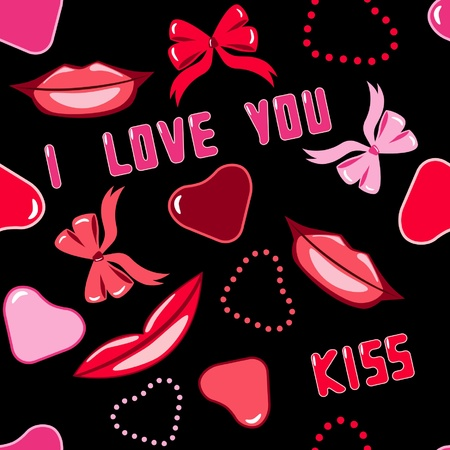 love you: seamless pattern with lips and hearts